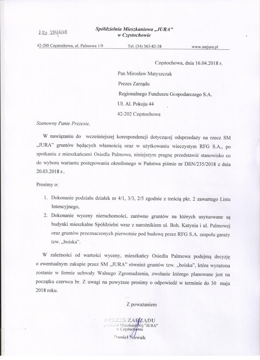 """Pismo w sprawie odsprzedaży gruntów na rzecz SM ,,JURA"""""""